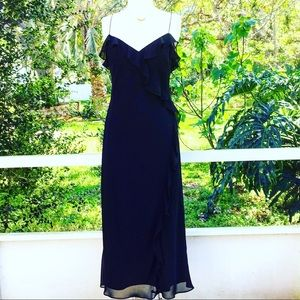 - Black sexy dress spaghetti strap ruffles s…